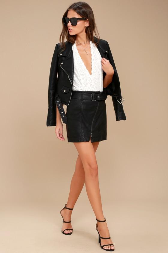 Free People Feelin? Fresh Black Vegan Leather Mini Skirt 1