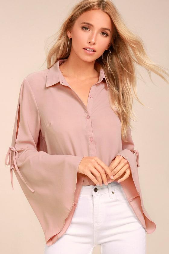 Estrella Mauve Pink Long Sleeve Button-Up Top 1