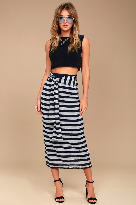 Moon River Day in the Hamptons Navy Blue Striped Maxi Skirt 1