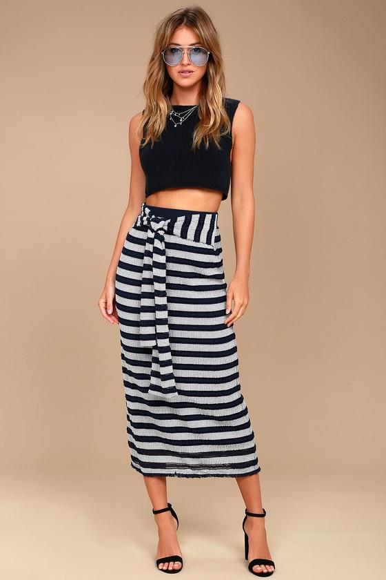 ee976823bcc09 Chic Maxi Skirt - Striped Maxi Skirt - Gauzy Maxi Skirt