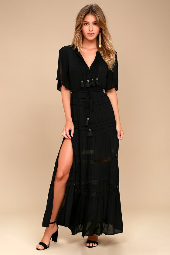 Boho Black Maxi Dress Crochet Dress Short Sleeve Dress