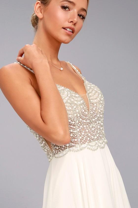 True Love White Beaded Rhinestone Maxi Dress 2