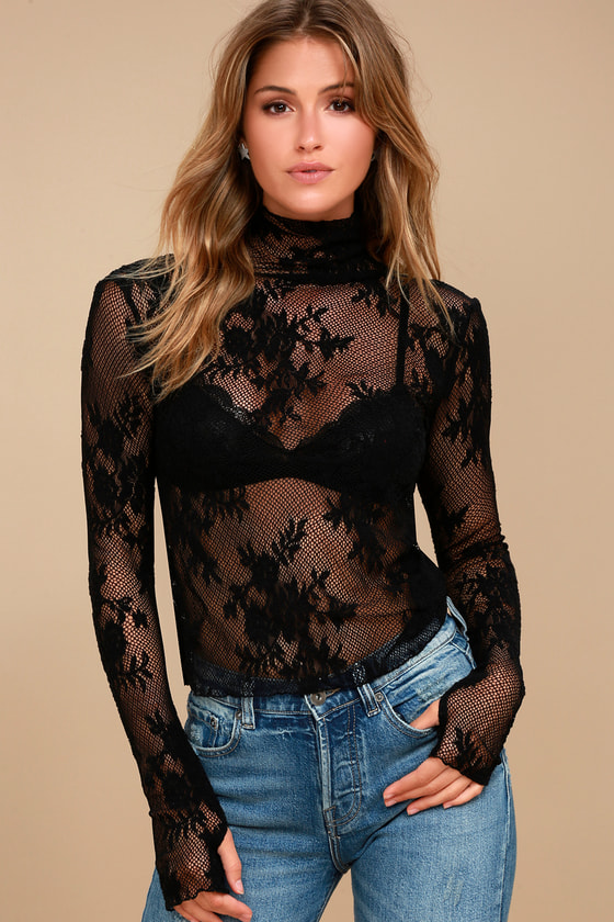 Free People Sweet Secrets Black Lace Turtleneck Top 3