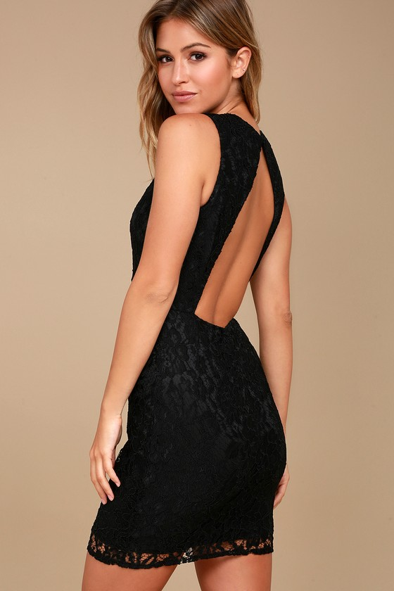 Party Pick Me Up Black Lace Backless Bodycon Dress 5