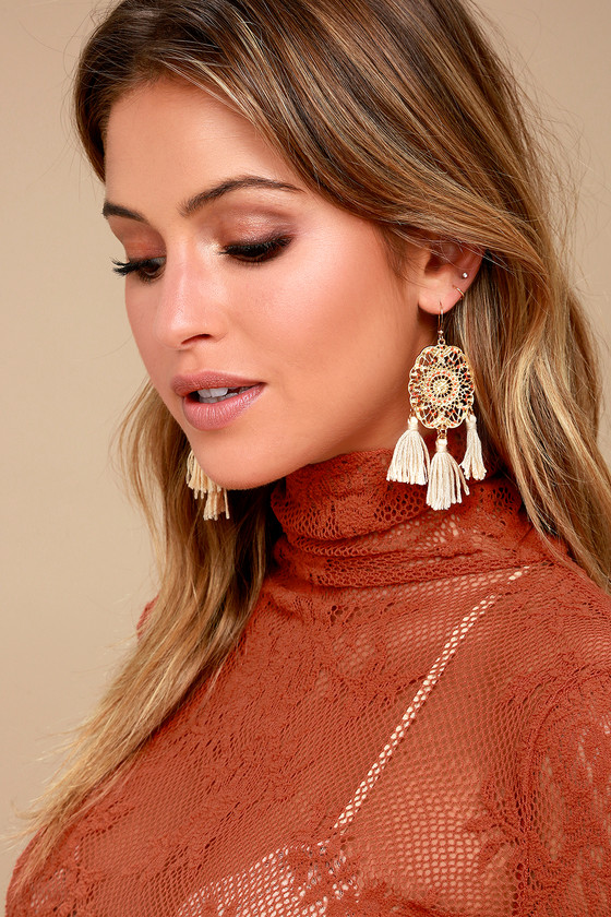 Dreamland Orange and Gold Tassel Earrings 2