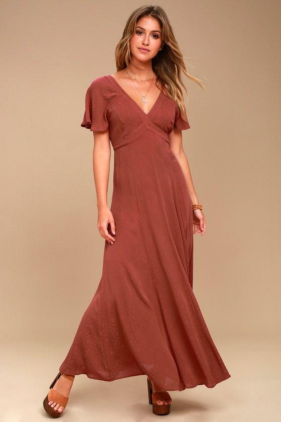 lost wander lana rust red maxi dress