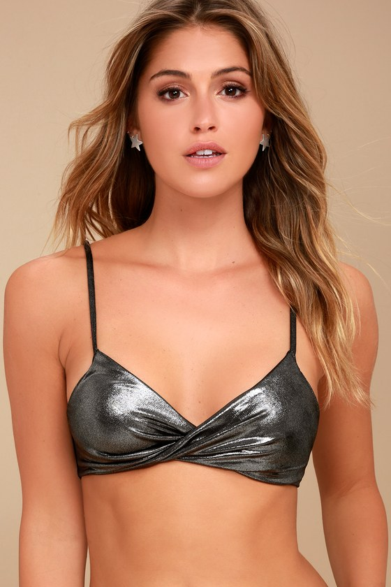 Free People Shine of Light Gunmetal Metallic Bralette 2