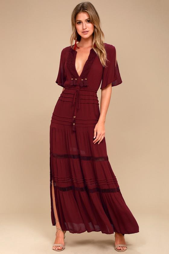 38c515e4a55 Boho Burgundy Maxi Dress - Crochet Short Sleeve Dress