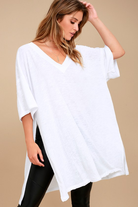 2cf7f75e Free People City Slicker White Tunic - Oversized Top