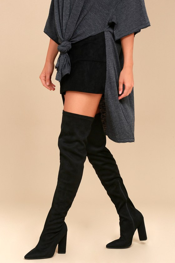 046099d0f6c Sexy Black Boots - Stretchy OTK Boots - Vegan Suede Boots