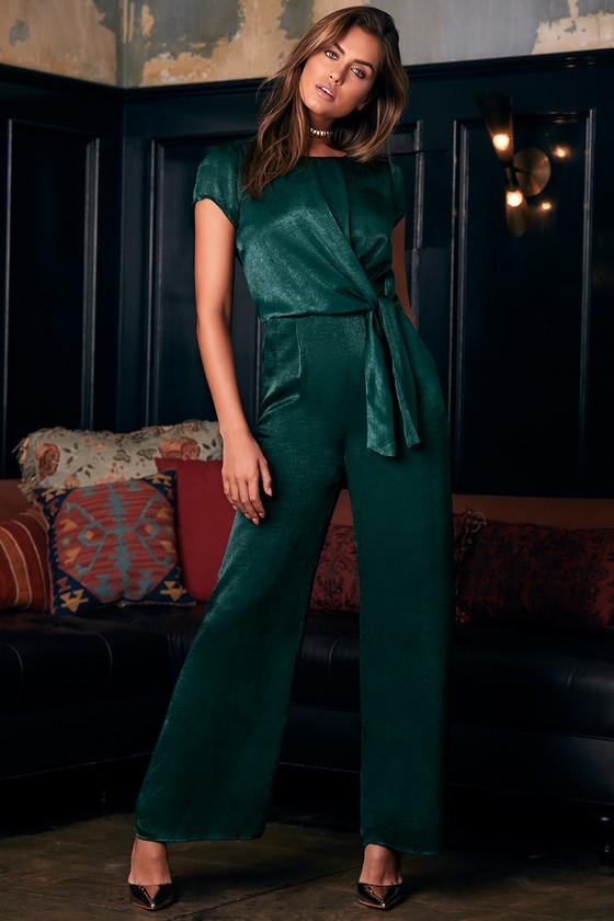 7a97352d299 Let Me Entertain You Forest Green Satin Wide-Leg Jumpsuit