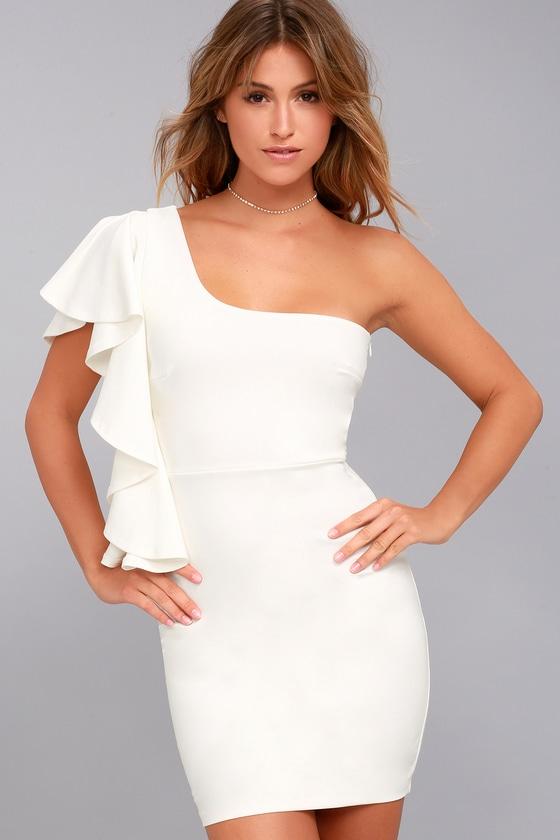 Sexy White Dress - Bodycon Dress - One-Shoulder Dress - LWD