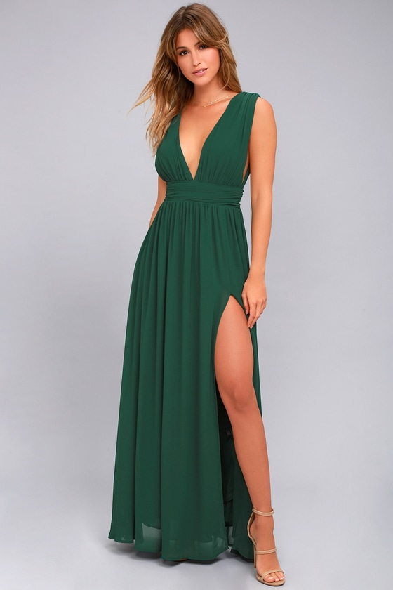 7e560797e76 Forest Green Gown - Maxi Dress - Sleeveless Maxi Dress