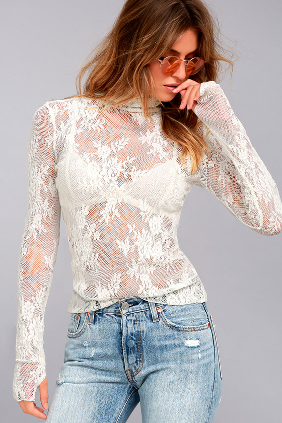 Free People Sweet Secrets White Lace Turtleneck Top 3