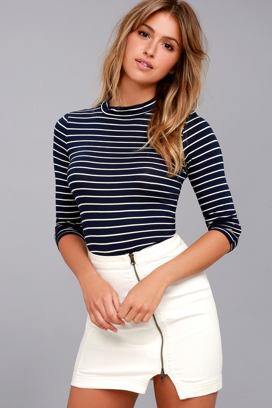 Anything is Posh-ible Navy Blue Striped Top 2