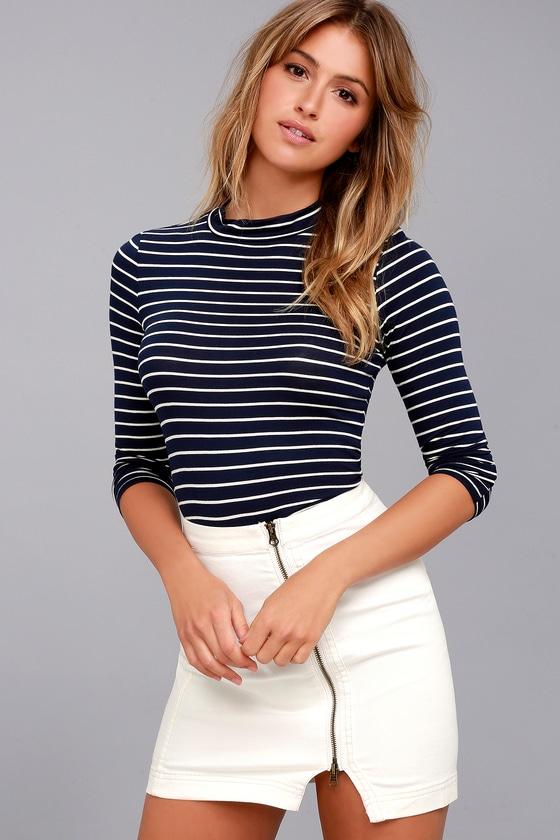 cd34dc96b24 Chic Navy Blue Striped Top - Long Sleeve Top - Mock Neck Top