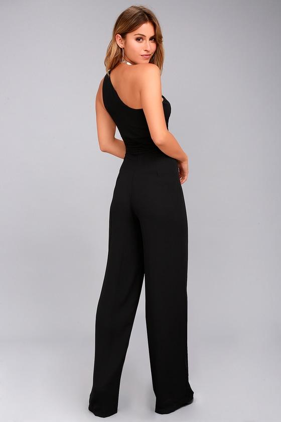 7264b66b21798 Chic Jumpsuit - Black Jumpsuit - One-Shoulder Jumpsuit