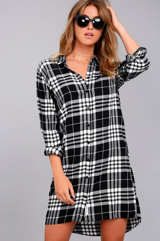 ca39546e3b0 Cheap Monday Anti Flannel - Black Plaid Dress - Shirt Dress
