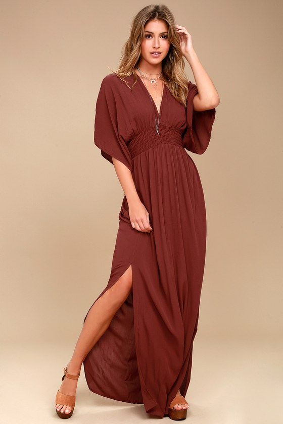 979dad9212b Lovely Burgundy Dress Maxi Dress Lace Dress Long Sleeve Dress 7800 ...