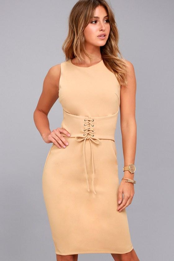Say So Nude Lace-Up Bodycon Midi Dress 1