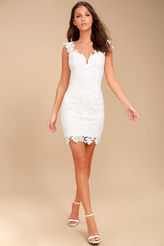 53f84662accffa Sexy White Dress - Lace Dress - Lace Bodycon Dress - LWD