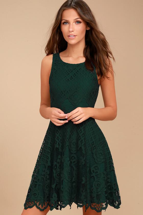 Black Swan Desirae - Forest Green Lace Dress - Skater Dress dfaed0e2c46c