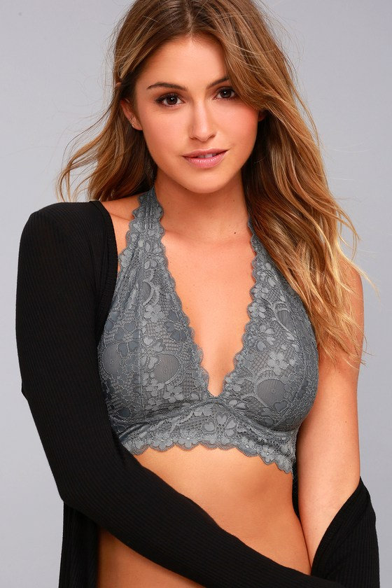 37fbe2d8317a7 Free People Galloon - Grey Lace Bralette - Halter Bralette