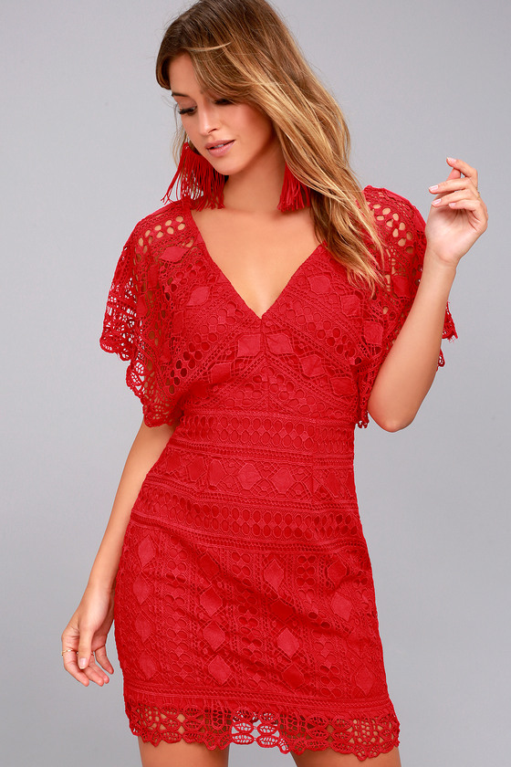 75ef63502 Chic Lace Dress - Red Dress - Floral Lace dress