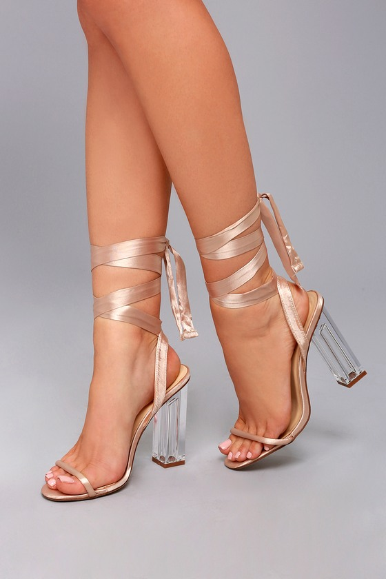 Selena Taupe Lace-Up Lucite Heels 4
