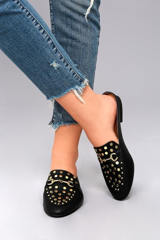Chic Black Loafer Slides - Vegan Mules