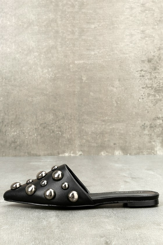 Ivonne Black Studded Pointed Toe Mules 2