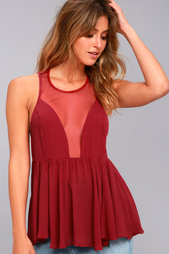 8439c05bb46 Free People Black Marble Cami - Berry Red Tank Top