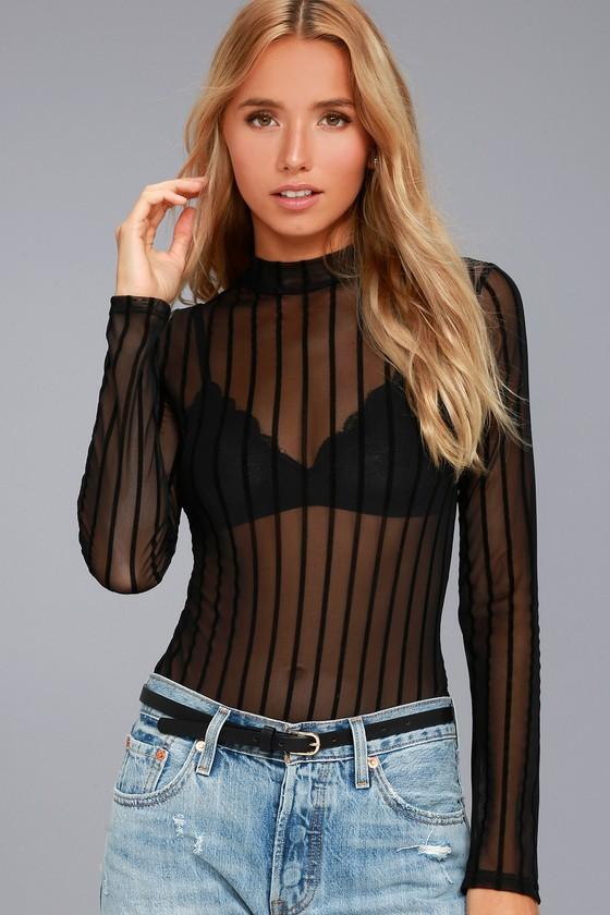 Draw the Line Black Striped Mesh Bodysuit 2