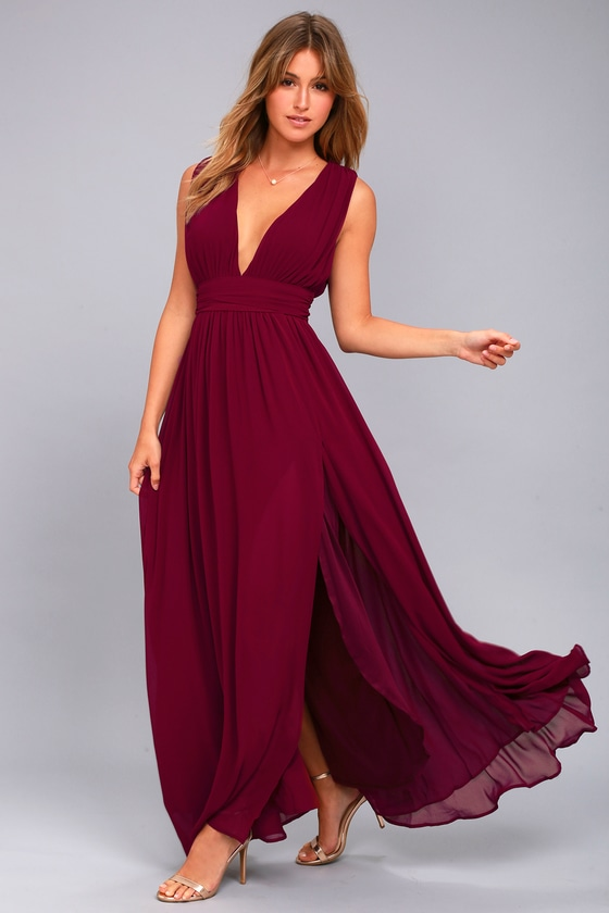 Heavenly Hues Burgundy Maxi Dress 1