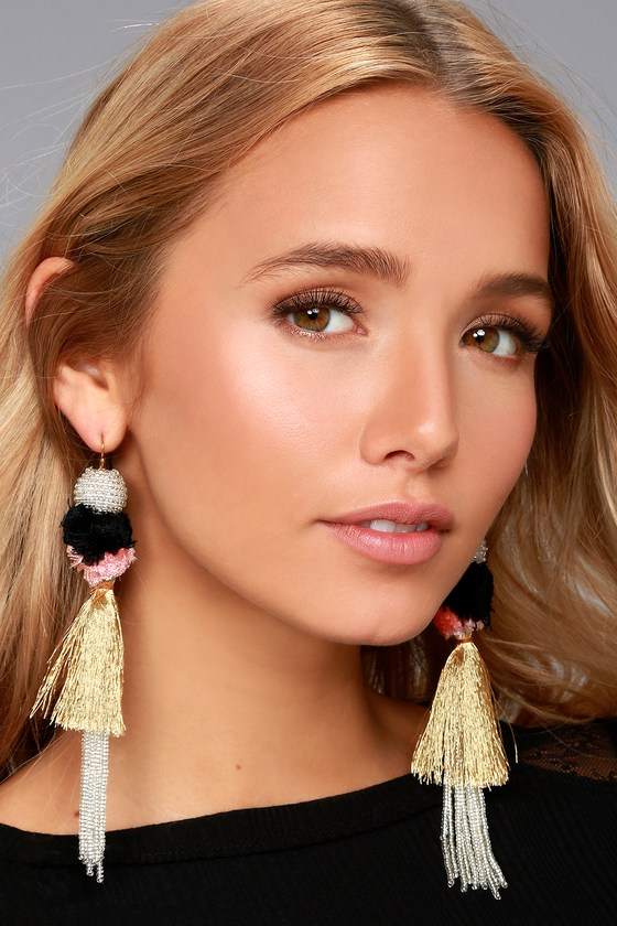 New Friends Colony | No. 1 Silver Beaded Tassel Earrings | Lulus