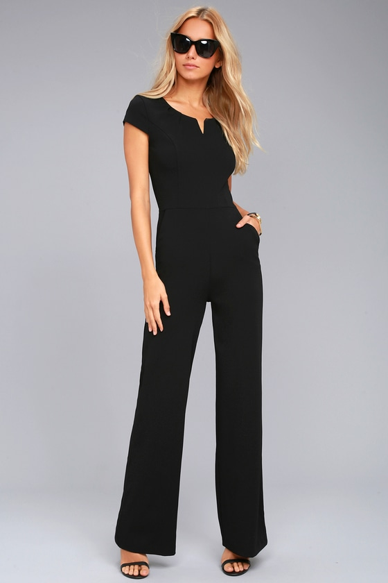 Black Jumpsuit - Short Sleeve Jumpsuit - Wide-Leg Jumpsuit