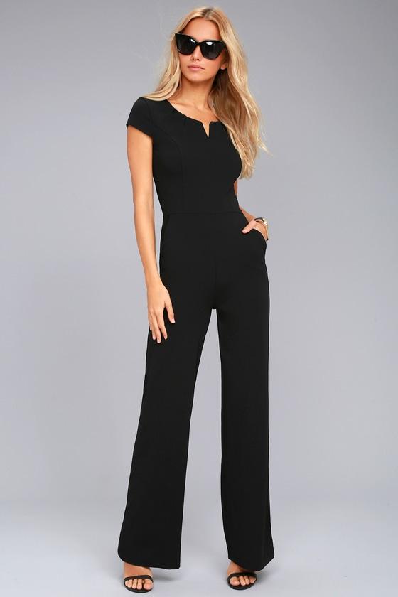 Black Jumpsuit - Short Sleeve Jumpsuit - Wide-Leg Jumpsuit