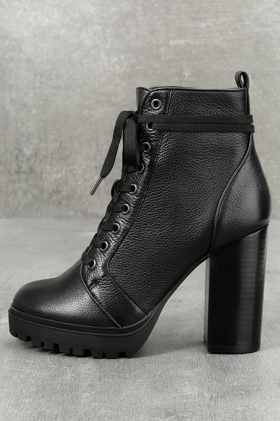 Steve Madden Laurie Black Leather Lace-Up Platform Booties 1