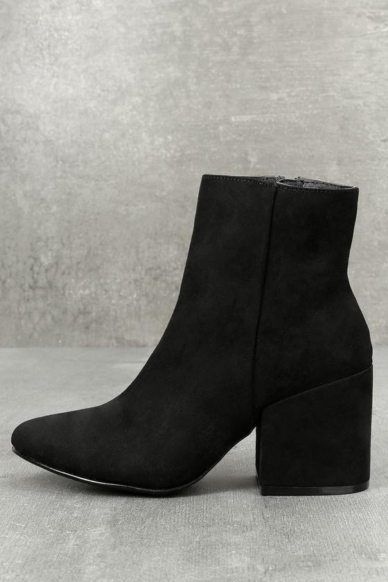 b2ef9a018678 Madden Girl Arrcade - Black Suede Boots - Block Heel Booties