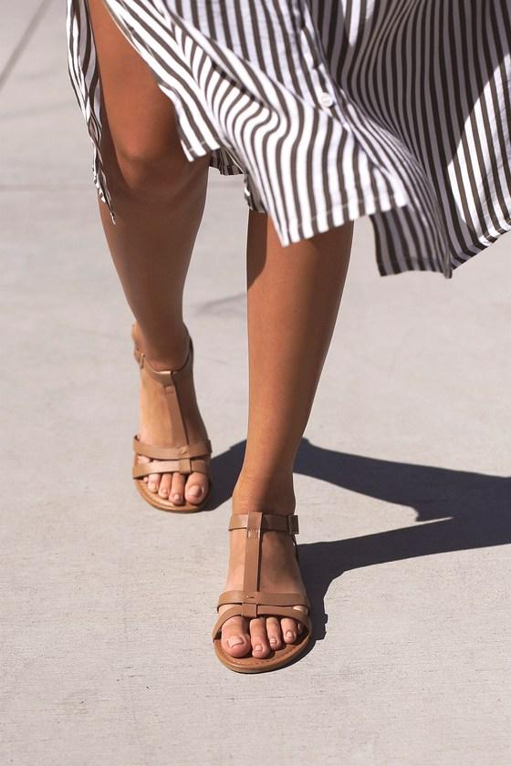 Nia Tan Flat Sandals 8