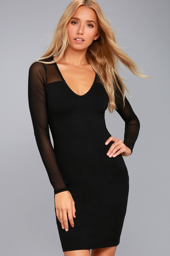 Parisian Nights Black Mesh Long Sleeve Bodycon Dress 2