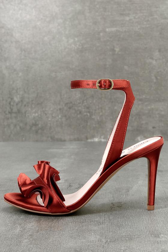 Chinese Laundry Jainey Rust Ruffle Dress Sandals 1