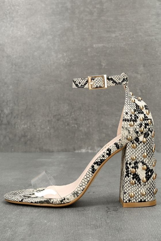 9f601a4def9e Chic Snake Print Heels - Ankle Strap Heels - Studded Heels