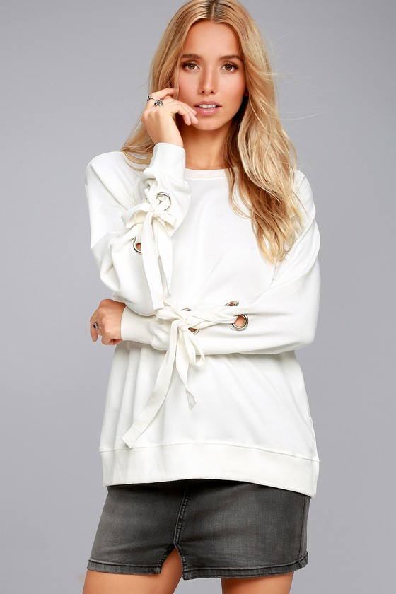 Trendy White Sweater - Lace-Up Sleeve Sweater - Grommet Top fa179205d