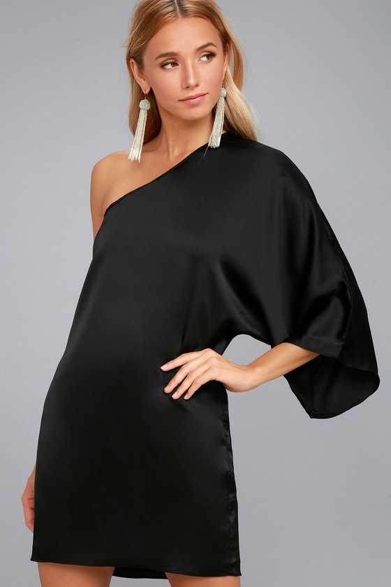 Sexy Black Dress - One-Shoulder Dress - Satin Shift Dress