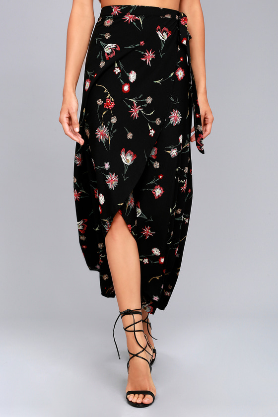 Marvelously Magical Black Floral Print Wrap Maxi Skirt 3