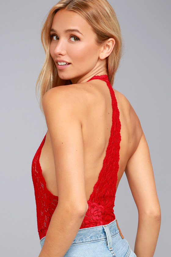 Free People Avery Red Lace Bodysuit 2