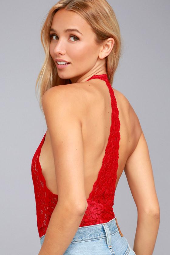 963e445d799ed Free People Avery - Red Bodysuit - Lace Bodysuit