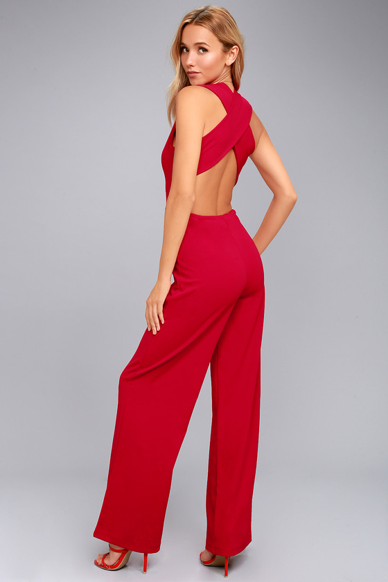 Thinking Out Loud Red Backless Jumpsuit