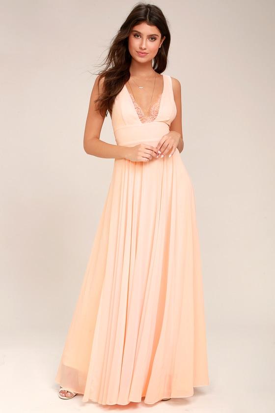 b4a094068 Lovely Peach Dress - Maxi Dress - Lace Dress